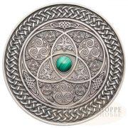 MANDALA ART II - CELTIC - 2016 3 oz High Relief Silver Coin - Antique Finish with Malachite Gemstone