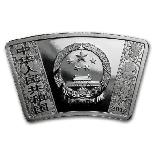 MONKEY PROOF FAN SHAPE - CHINA - 2016 1 oz Pure Silver Coin - BOX & COA