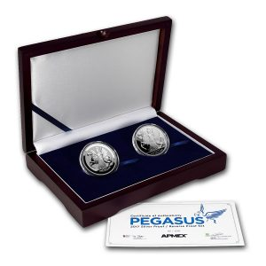 PEGASUS - PROOF & REVERSE PROOF SPECIAL SET - 2017 2 X 1 oz Pure Silver Coins - British Virgin Island