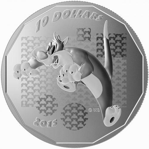 """2015 $10 1/2 oz Fine Silver Coin - Looney Tunes: Sylvester - """"Suffering Succotash"""""""