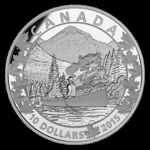2015 $10 1/2 oz Fine Silver Coin - Canoe Across Canada: Magnificent Mountains