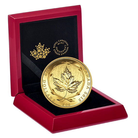 2015 500 5 Oz Pure Gold Coin Maple Leaf The Coin Shoppe