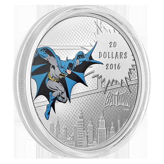 Batman 1 oz Silver Color Proof ~New 2016 Canada DC Comics Originals Dark Knight