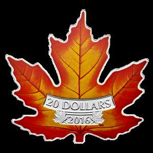CANADA'S COLOURFUL MAPLE LEAF SHAPE COIN - 2016 $20 1 oz Fine Silver Coin - Royal Canadian Mint