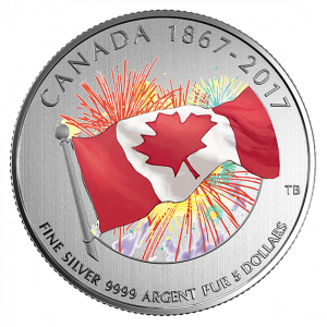 *PROUDLY CANADIAN - GLOW IN THE DARK - 2017 $5 1/4 oz Fine Silver Coin - Royal Canadian Mint