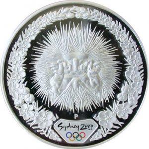 ECHIDNA & TEA TREE - 2000 SYDNEY OLYMPICS - 1 oz Pure Silver Proof Coin - Perth Mint