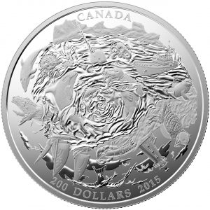 2015 $200 2 oz Fine Silver Coin - Coastal Waters of Canada