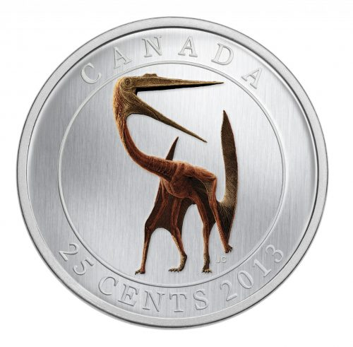 Quetzalcoatlus Prehistoric Creature - 25-Cent Coloured Glow-in-the-dark Dino Coin (2013)