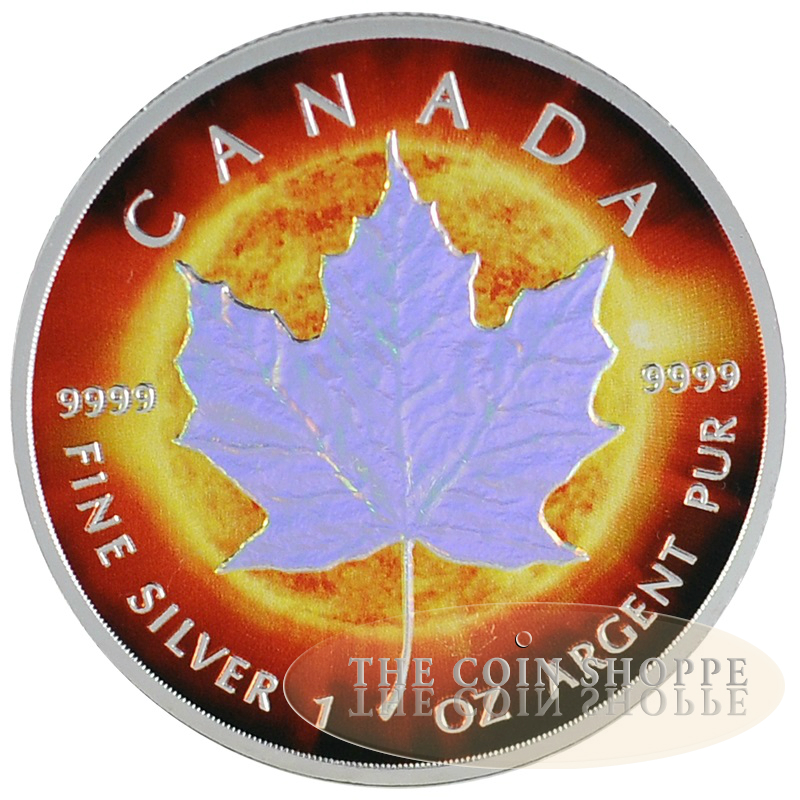 2014 1 Oz Silver Coin Maple Leaf Color And Hologram