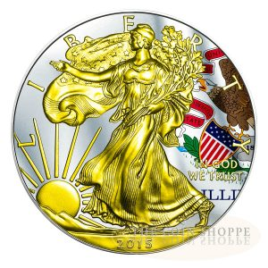 ** FREE SHIPPING ** ILLINOIS - US STATE FLAG SERIES - 2015 1 oz American Silver Eagle Coin - Color and 24K Gold