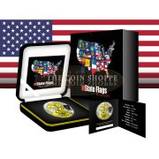 ** FREE SHIPPING ** MASSACHUSETTS - US STATE FLAG SERIES - 2015 1 oz American Silver Eagle Coin - Color and 24K Gold
