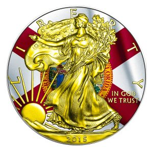 ** FREE SHIPPING ** 2015 1 oz Silver Coin - American Silver Eagle - US States Series - Florida Flag - Color and 24K Gold