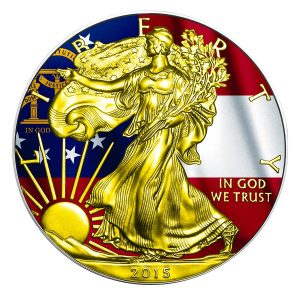** FREE SHIPPING ** 2015 1 oz Silver Coin - American Silver Eagle - US States Series - Georgia Flag - Color and 24K Gold