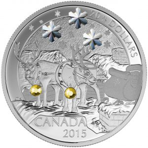 2015 $20 1 oz Fine Silver Coin - Holiday Reindeer *