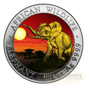 SOMALIAN AFRICAN ELEPHANT - SUNSET EDITION - 2016 1 oz Silver Coin - Color and 24K Gold
