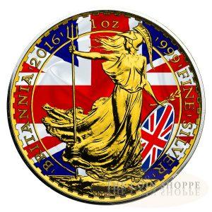 PATRIOTIC BRITANNIA - 2016 1oz ?Ь2 GBP Silver Coin - Color and 24K Gold