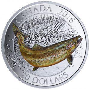 CANADIAN SALMONIDS  ATLANTIC SALMON - 2016 $20 1 oz Fine Silver Coin
