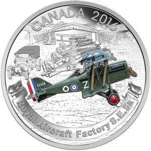 AIRCRAFT OF THE FIRST  WORLD WAR SERIES: THE ROYAL AIRCRAFT FACTORY S.E.5A - 2016 $20 1 oz Fine Silver Coin