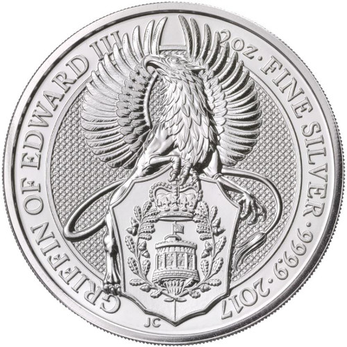 THE GRIFFIN OF EDWARD II - THE QUEEN'S BEASTS - 2017 2 oz Silver Bullion Coin