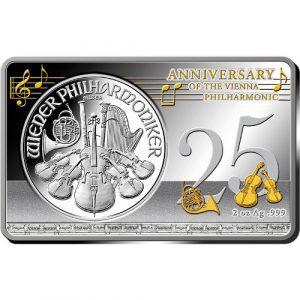3 oz - 25th ANNIVERSARY OF THE VIENNA PHILHARMONIC SILVER COIN - 2014 1 oz Pure Silver Coin & 2 oz Pure Silver Bar