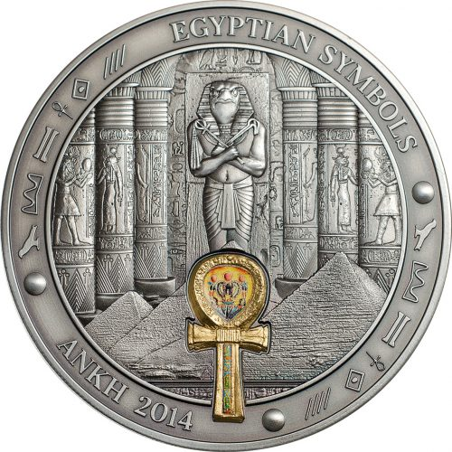 ANKH - EGYPTIAN SYMBOLS - 2014 3 oz High Relief Pure Silver Antique Finish Coin - Palau