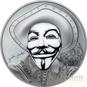 HISTORIC GUY FAWKES MASK II - 2017 1 oz Pure Silver Coin - smartminting?? Technology & Porcelain Effect