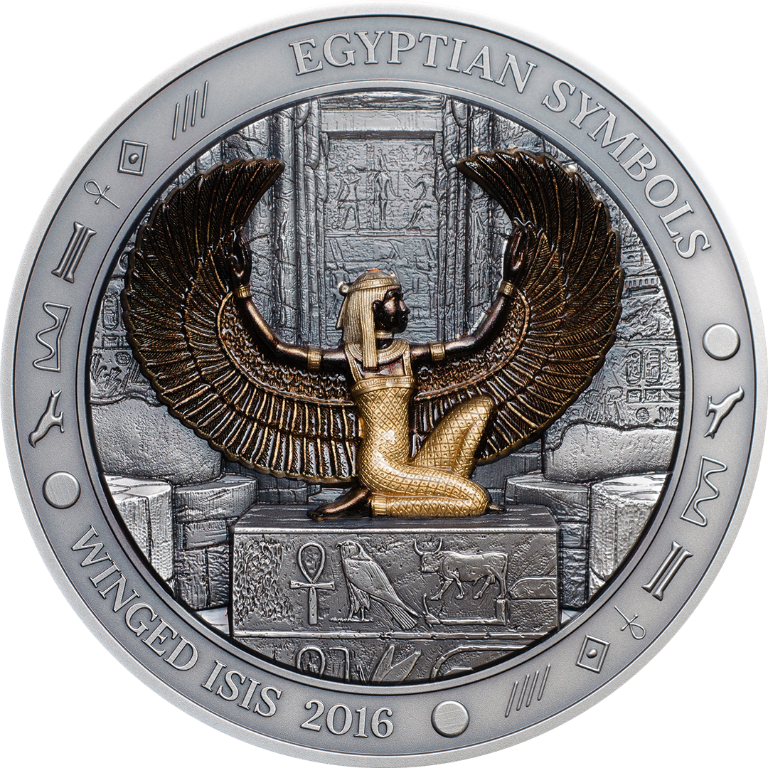 Winged Isis Egyptian Symbols 2016 3 Oz High Relief Smartminting