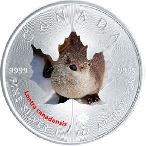 2015 Canadian Wildlife 1 oz Silver Maple Leaf Series - Canadian Otter
