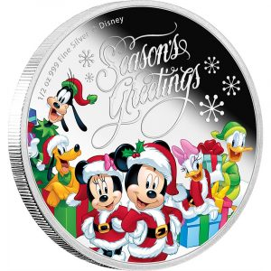 DISNEY - SEASON'S GREETINGS - MICKEY MOUSE AND FRIENDS - 2016 1/2 oz Pure Silver Coin - NZ MINT
