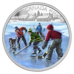 Pond Hockey Fine Silver Coloured Coin - 1 oz - 2014