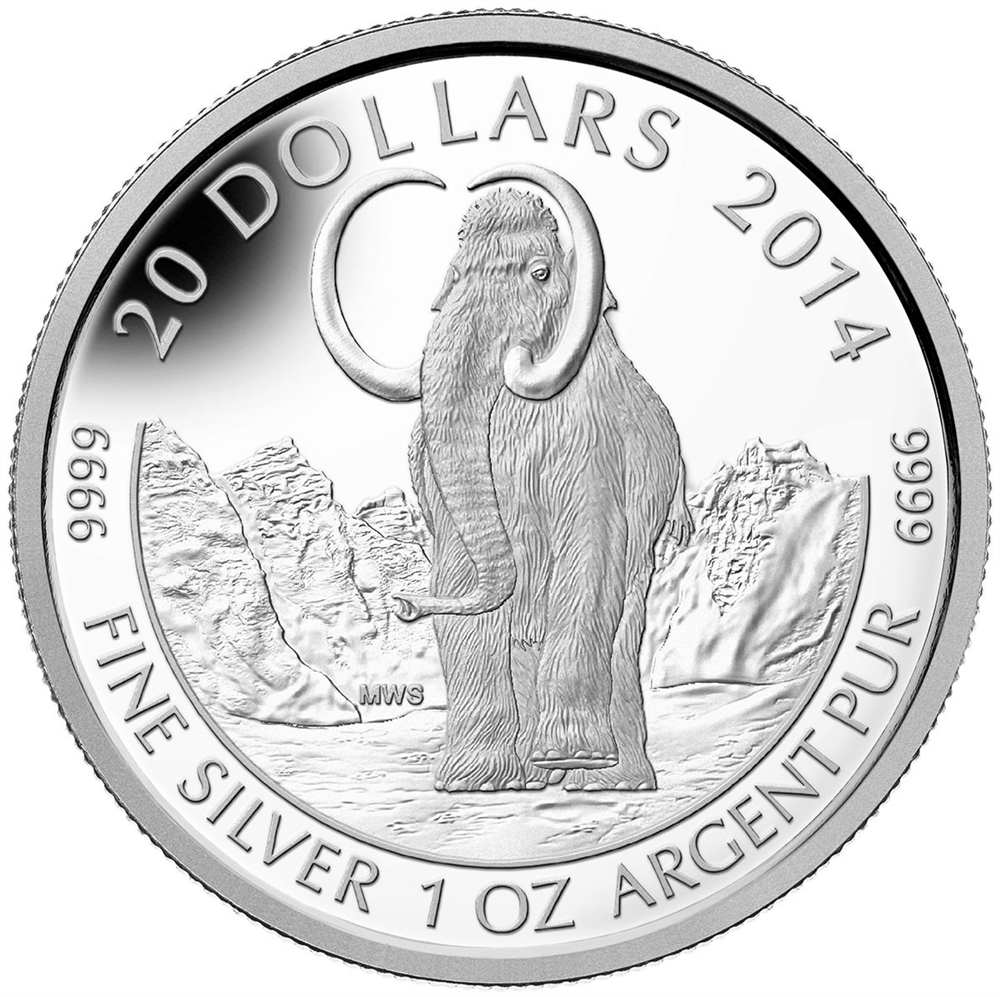 2014 1 Oz Fine Silver Coin Woolly Mammoth The Coin Shoppe