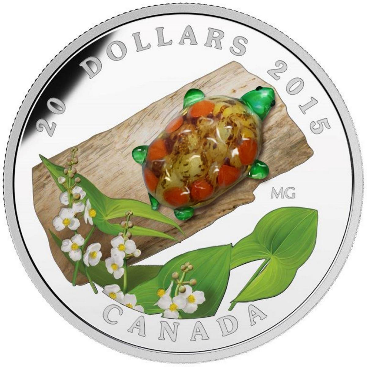 2015 $20 Fine Silver Coin 1 Oz Venetian Glass Turtle Broadleaf Arrowhead Flower