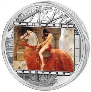 2013 3 oz $20 Pure Silver Coin with Swarovski  - Masterpieces of Art - John Collier - Lady Godiva