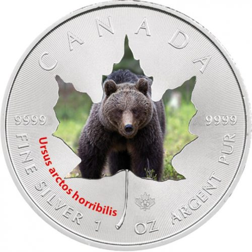2014 Canadian Wildlife 1 oz Silver Maple Leaf Series - Grizzly Bear