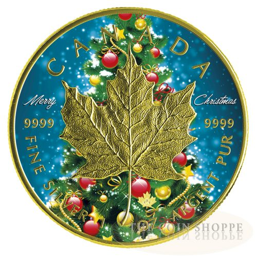 CHRISTMAS TREE MAPLE - MERRY CHRISTMAS - 2016 1 oz $5 Fine Silver Maple Leaf Coin - Color and 24K Gold Gilding