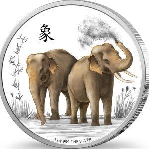 2015 1 oz Silver Coin - Feng Shui Series - Elephants - NZ Mint - Niue