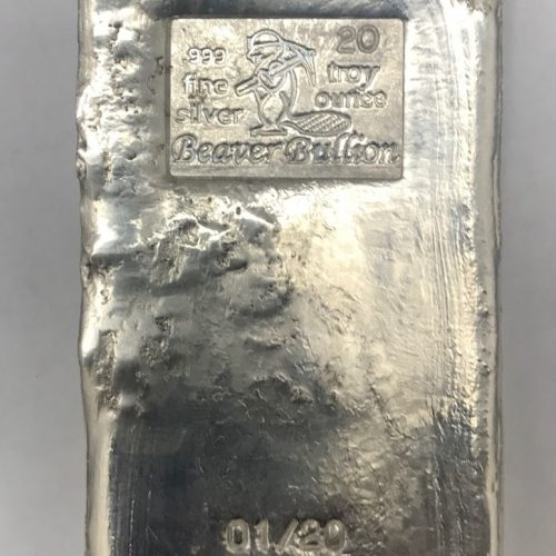 BEAVER BULLION - SERIAL - POURED SILVER BAR - 20 oz Pure .999 Silver Bar - LIMITED MINTAGE OF 20