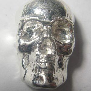 SKULL - HAND POURED - 2 oz Pure Silver 3D Bar - TCS