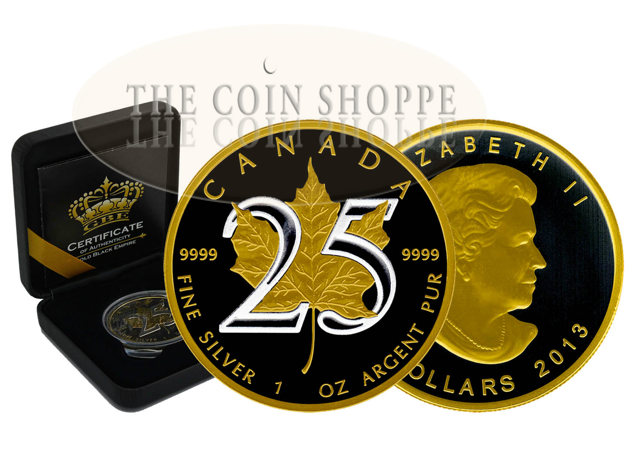 2017 1 Oz Silver Maple Leaf Black Rhodium And 24K Gold. GOLD BLACK EMPIRE