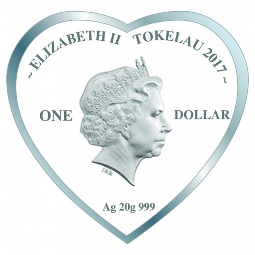 ROSES FOR LOVE - HEART SHAPED - 2017 $1 Silver Proof Coin - Tokelau