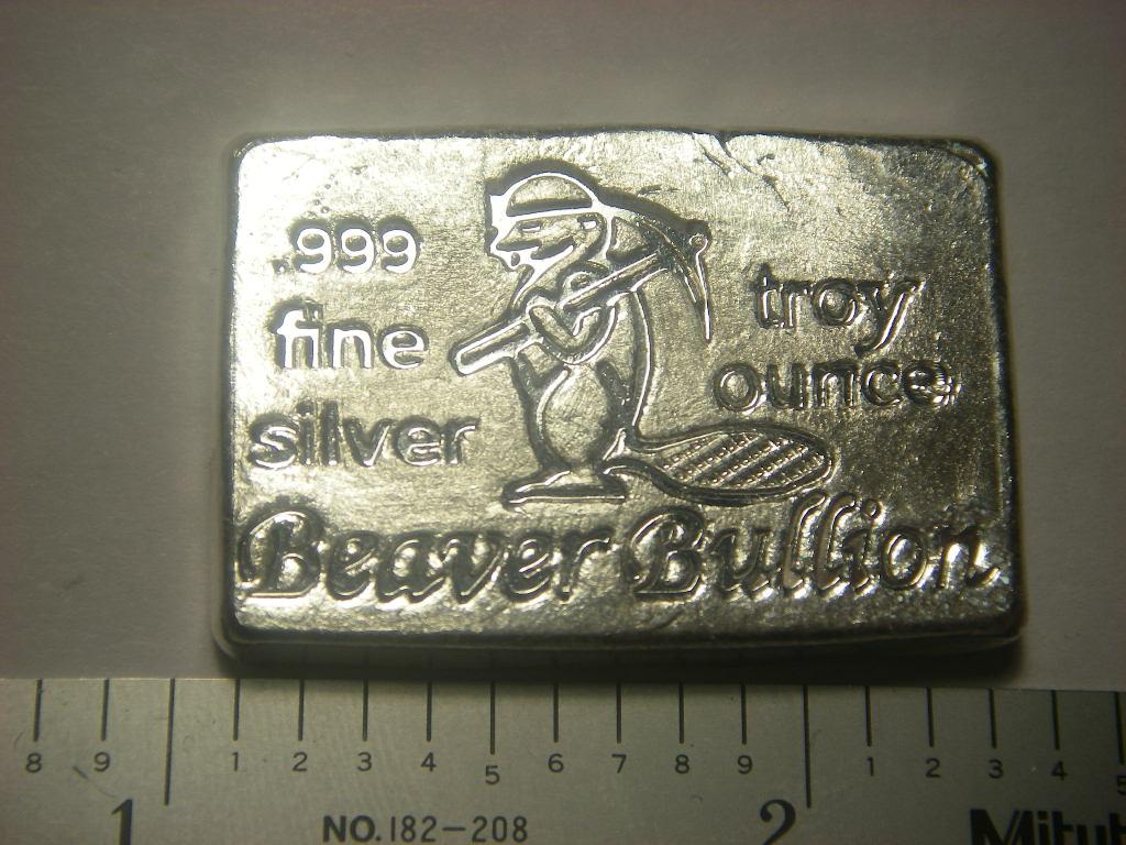 Beaver Bullion Canada Poured Silver Bar 1 Oz Pure