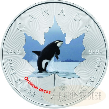 2014 Canadian Wildlife 1 oz Colored Silver Maple Leaf Series - Orca