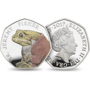 MR. JEREMY FISHER - BEATRIX POTTER SERIES - 2017 Sterling Silver Proof Color Coin - Royal Mint