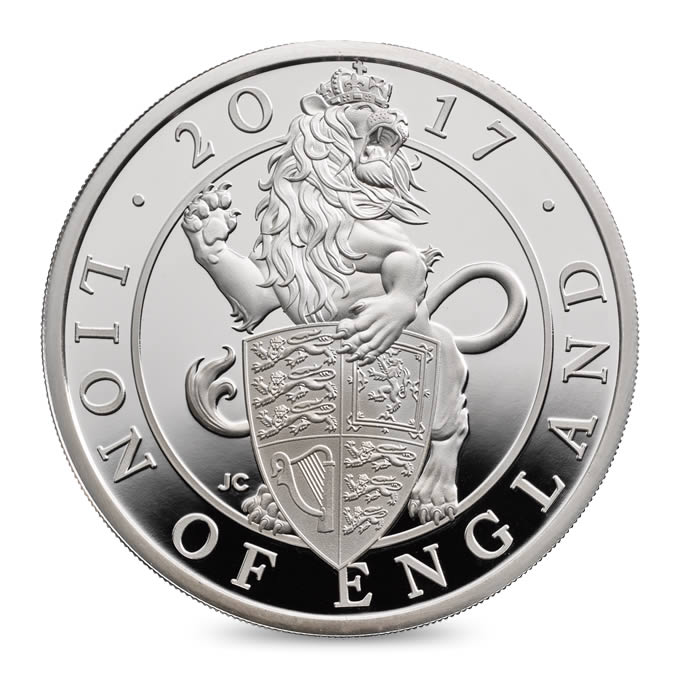 The Queen/'s Beasts 5 Pounds 2016 The Lion of England 2 oz Silver Coin