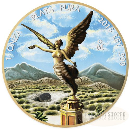OUNCE OF SPACE - LIBERTAD - 2016 1 oz Mexican Silver Coin with Allende Meteorite - 24K Gold Plating