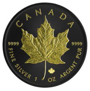 MAPLE LEAF - FULL RUTHENIUM -  24K GOLD GILDING - 2015 1 oz Pure Silver Coin in Capsule