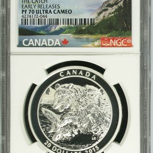 GRIZZLY BEAR - THE CATCH - EARLY RELEASES - NGC PF70 ULTRA CAMEO - 2015 $20 1 oz Fine Silver Coin
