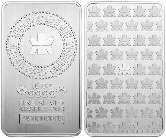 10 Oz New Royal Canadian Mint Silver Bar The Coin Shoppe
