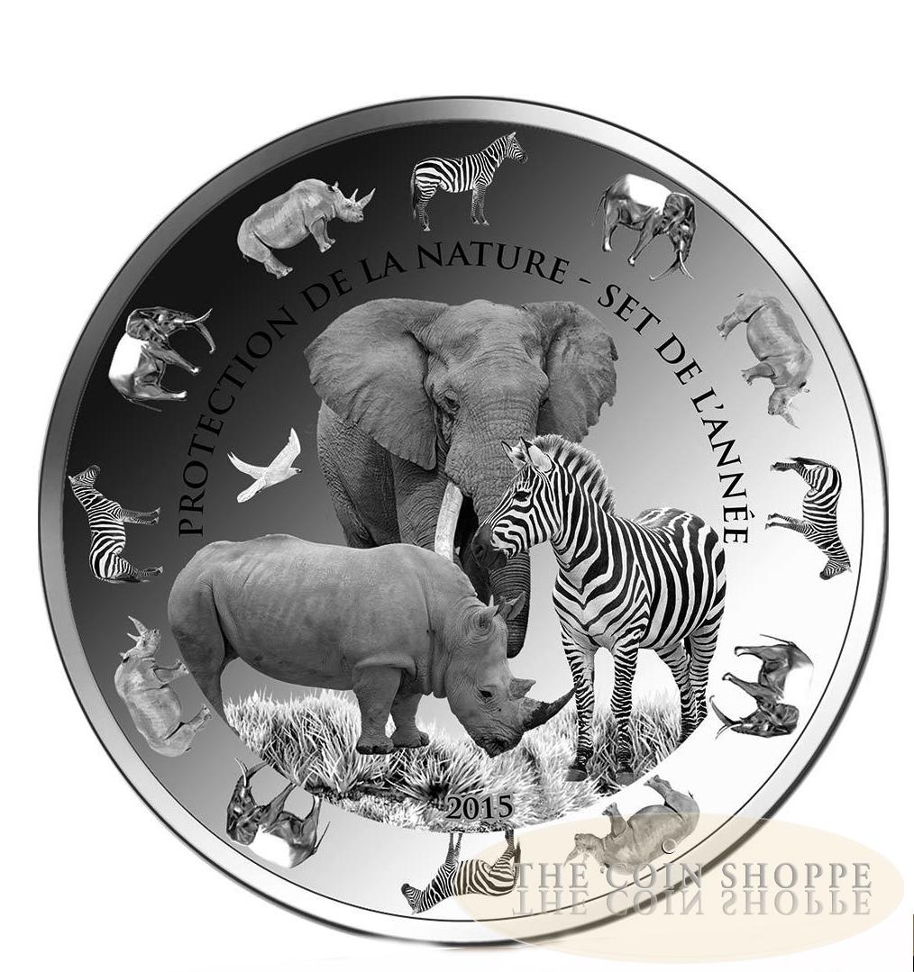 2015 Benin 1 oz Silver ZebraProof-Like BU Protection de la Nature Series
