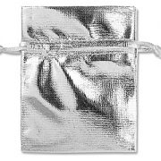 """SILVER METALLIC POUCH FOR COINS - 3 """" X 4"""""""